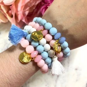 Jewelry - 5 Piece Handmade Blue White Pink BFF Bracelet Set